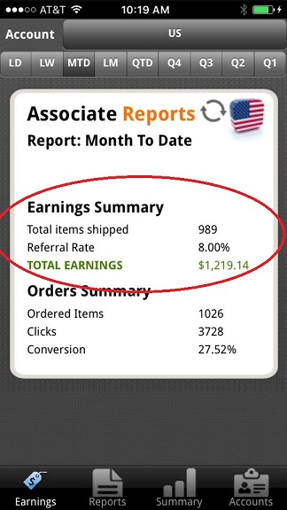 affiliate income one month from joyce